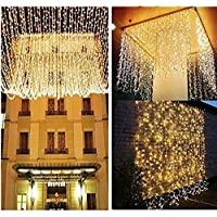 KNONEW LED Window Curtain Icicle Lights, 306 LEDs, 9.8ft x 9.8ft, 8 Modes, String Fairy Light, LED String Light for Wedding Party /Christmas/Halloween/Party Backdrops for UK only (Warm White)