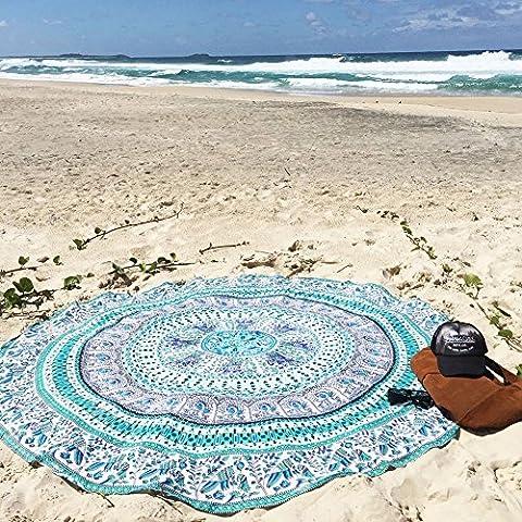 Candora Beach Towel-round méditation Tapis de yoga, indien Boho Gypsy Coton Tablecloth-mandala rond Plage Throw-hippie Hippy Style-throw Parure de lit Couvre-lit, Gypsy Mur à suspendre, décoration murale à suspendre, Green