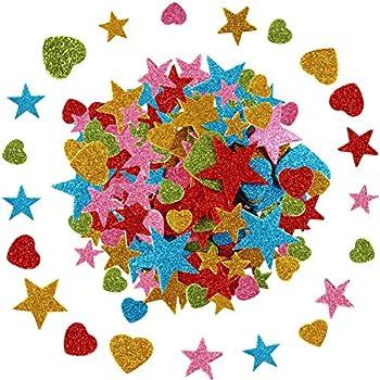 Self Adhesive 3d Foam Glitter Stickers Arts /& Crafts Love Hearts Stars Shapes