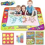 lenbest Aqua Magic Doodle Malmatte, 80x60CM 4 Farbe Kinder Zeichnung Mat Board mit 5 Stift, 1 Charakterform, 1 extra Dinosaurierheftchen - Pädagogisches Geschenk für...