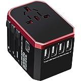 Universal Travel Adapter with 4 Ultra-Fast USB Port and 1 Ultra-Fast USB Type C Port and Power Socket Worldwide Plugs UK EU U