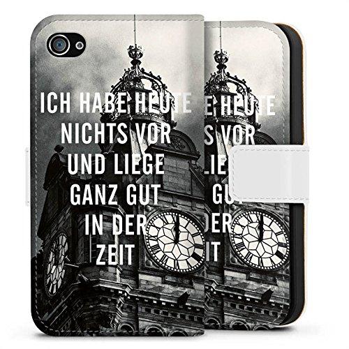 Apple iPhone X Silikon Hülle Case Schutzhülle Zeit Sprüche Faulheit Sideflip Tasche weiß