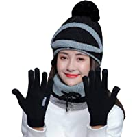 JFAN 4 in 1 Invernale di Cappello e Sciarpa Set Moda Donna Spessa Fodera in Pile Termico(Cappello Lavorata a Maglia…