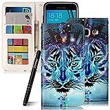 Galaxy J3 2016 Hülle Blau,Slynmax Wolf Printed Handyhülle Flip Tasche Slynmax Hülle Kompatibel mit Samsung Galaxy J3,2016) DUOS Handytasche PU Leder Klapphülle Wallet Case Brieftasche Lederhülle mit