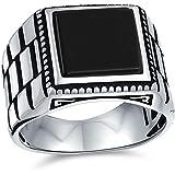 Retro reloj banda estilo oxidado banda negro ónix rojo ágata piedra preciosa cuadrado signo anillo para hombres pesado 925 pl