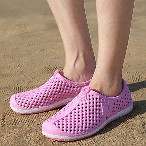 Xing Lin Chaussures DÉté Hommes La Moitié DÉté Homme Chaussures Trou Chaussons Creux Respirant Chaussures De Plage Occasionnels Pantoufles Marée Hommes Couples Sandals PK222-pink