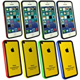 Emartbuy® Apple Iphone 5c Bundle Pack 4 Moulded Stoßfeldfall Gel Cover / Schutzhülle Solid Rot / Schwarz, Blau / Schwarz, Gelb / Schwarz & Grün / Schwarz