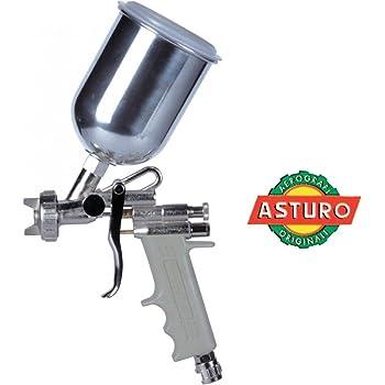 ASTURO Aerografo Convenzionale Manuale Superiore A Bassa Pressione Modello E70 - Ugello Ø 1,4 Mm - Serbatoio In Alluminio Da 500 Cc