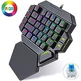 K50 RGB trådbundet speltangentbord 35 tangenter enhandsblå brytare LED bakgrundsbelyst mekaniskt tangentbord makrodefinition