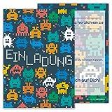 12 Lustige Einladungskarten Set Kindergeburtstag Motiv Space Pixel Weltall PartyEinladung Geburtstag Alien Arcade Universum Emoji