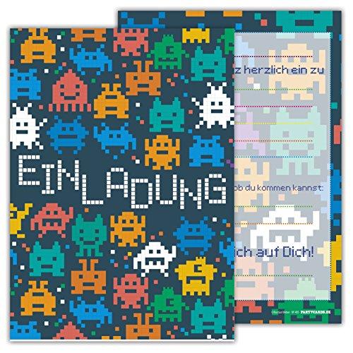 12 Lustige Einladungskarten Set Kindergeburtstag Motiv Space Pixel Weltall PartyEinladung Geburtstag Alien Arcade Universum Emoji (Sexy Piraten-schatz)