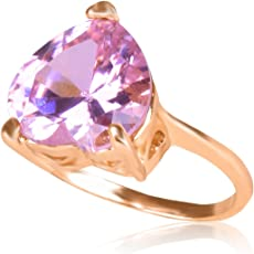 Women's Heart Shaped Baby Pink Coloured Finger Ring on Rose Gold Finish Soze 17