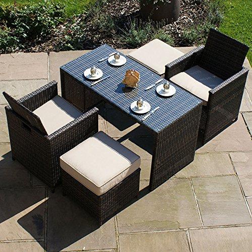 Maze Rattan Balkon-Set Cube–Braun