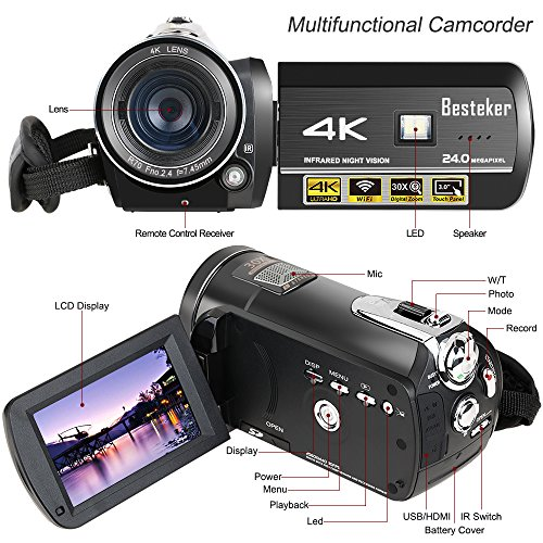 Camcorder,Besteker 4K 60fps Camera Camcorder Ultra HD with Wi-Fi and IR Night Vision 24MP 30X Digital Zoom Portable Video Camcorder 3.0IN Rotation Touch Screen (Black)