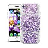HULI Design Case Hülle für Apple iPhone 7 Smartphone mit Mandala - Handy Schutzhülle klar aus Silikon mit orientalischem Muster Sonnenmuster Henna Ornament - Handyhülle durchsichtig mit Druck