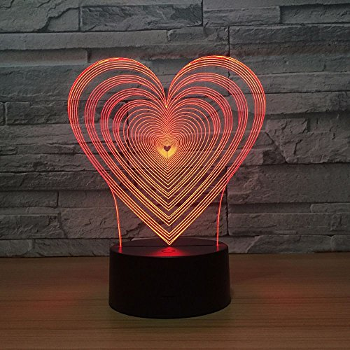 Luz de Noche Visual en Forma de corazón tipo cambio de Color luz de dormitorio de bebé luz de Noche decoración de acrílico transporte por goteo