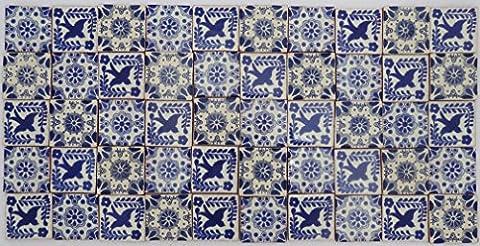 Lot de 50 Talaveras mexicains, 5 cm, carrelage fait à la main: Azul y Blanco