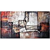 Raybre Art® 100% Pintada a mano sobre Lienzo 50x100cm - Cuadro Modernos Abstractos Grandes Pintura al óleo Grafiti Color Cálido Arte Pared para Decoración Hogar Cocina Dormitorio, Sin Marco