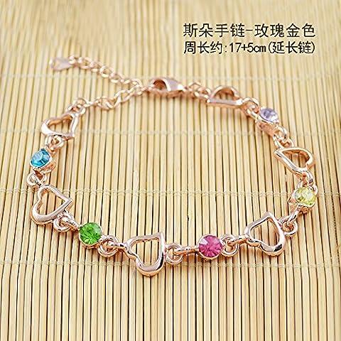 HOOM-Lady crystal bracelet mode bracelet Opale ,Rose-Gold bracelet de fleurs