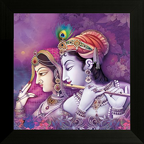 SAF ' Radha Krishna ' Religious UV Textured Framed Painting ( 34 cm x 2 cm x 34 cm)