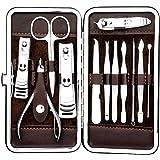 مجموعة أدوات تشذيب الأظافر مكونة من 12 قطعة للعناية بالاظافر، مقص وقصافة اظافر للعناية بالقدمين
