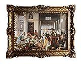 Made in Italy Gemälde Harem Orient Oriental Orientalische Bilder Bild mit Rahmen Wandbild 90x70cm Kunstdrucke und Gemälde Retro Repro Antik für Cafe Bar Home Büro Praxis