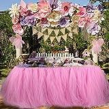 Falda de tabla de falda de la tabla de tul para la fiesta de cumpleaños de la fiesta de bienvenida al bebé de la princesa partido de la fiesta de bienvenida al bebé. (Rosado)