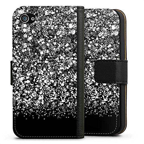 Apple iPhone X Silikon Hülle Case Schutzhülle Glitzer Look Schnee Pattern Sideflip Tasche schwarz