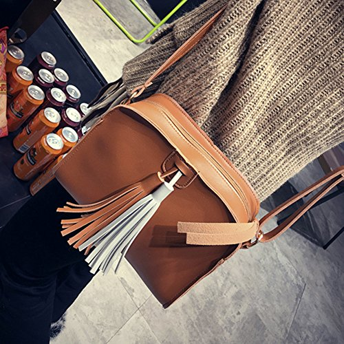 Amazingdeal365 New Fashion Women PU Leder Mini Schulter Crossbody Schultertasche Tasche mit Dual Quaste Brau