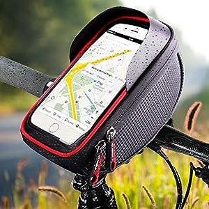 61Cs9n7hfnL. SS300 IREGRO Bicicletta Borsa Ciclismo Bici Top Tubo Manubrio Bag Phone Holder con Visiera, Adatto per Il Telefono Mobile con…