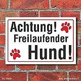 (2365) Schild Achtung freilaufender Hund, 3 mm Alu-Verbund (300 x 200 mm)