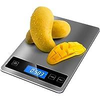 Bilancia Cucina Digitale  15 kg 33 lbs  Precisione 1g REEXBON Bilancia Digitale da Cucina in Acciaio Inox con Funzione Tara  5 Unita di Misura  Indicatore LED di caricare  Allarme Batteria Scarica