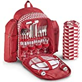 VonShef Mochila con mantel de picnic para 4 personas con estampado rojo geo