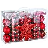 Lot de 66 Eléments de Décoration rouge Boules de Noël Guirlandes Étoiles Fêtes