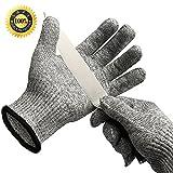 Schnittschutzhandschuhe, Allezola Hochleistung Küchen-Handschuhe Leicht 5 Handschutz Ebene, Lebensmittelecht Schnittfeste Handschuhe, Stahlgeflecht, 2 Stück