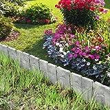 [casa.pro] Empalizada para jardines - set de 10 unidades - gris con apariencia de piedra - longitud 250cm separadores - frontera bordes césped