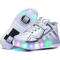 Unisex Bambini e Ragazze Scarpe da Luce Alto-Top Singolo Doppia Ruota Skateboard Regalo di Carnevale di Natale di Natale