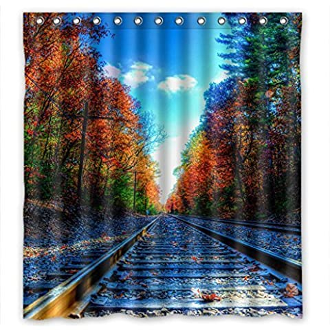 Lawrence Best Home Fashion Waterpoof Shower Curtain With Hooks 66(W)'(H)' Colorful Railroad Track Design 66x72 inch