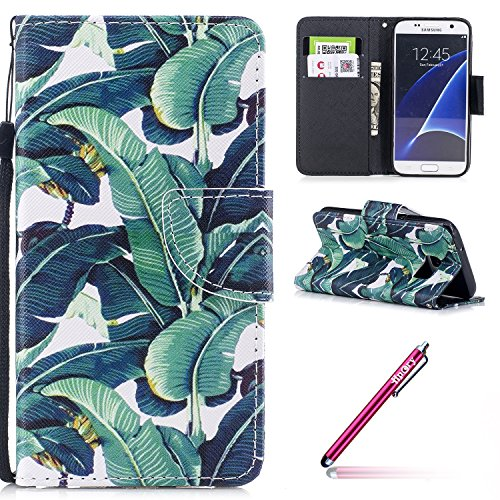 Schutzhülle für Galaxy S7,Galaxy S7 Leder Wallet Tasche Brieftasche Schutzhülle,Hpory Schön Kreative 3D Glänzend Glitzer Windspiele Blumen Muster Ledertasche Brieftasche Handyhülle PU Leder Flip Hülle Bananenstaude