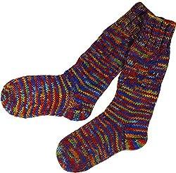 Guru-Shop Handgestrickte Schafwollsocken, Haussocken, Nepal Socken, Herren/Damen, Regenbogen, Wolle, Size:M (37-39), Socken & Beinstulpen Alternative Bekleidung