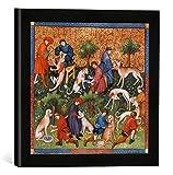 Gerahmtes Bild von Pariser Werkstatt Buchmalerei 'Pflege der Jagdhunde /Livre de la Chasse', Kunstdruck im hochwertigen handgefertigten Bilder-Rahmen, 30x30 cm, Schwarz matt