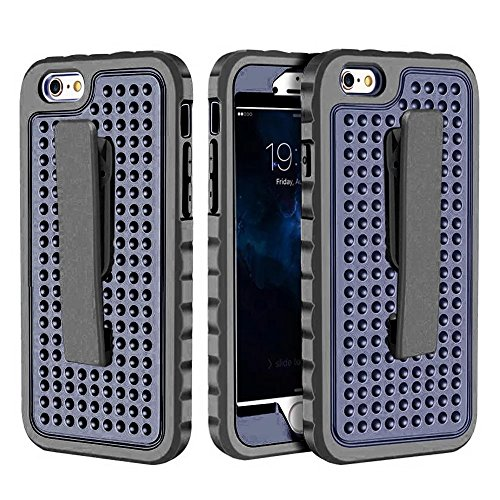 iPhone 6 Hülle,iPhone 6S Hülle,Lantier 3 in 1 Combo Einzigartige Anti-Rutsch Textur mit Gürtel Clip Shockproof Rugged Rüstung Schutzhülle für iPhone 6 /6S 4.7 inch Grau+Mint Grün Belt Clip Series Black+Navy