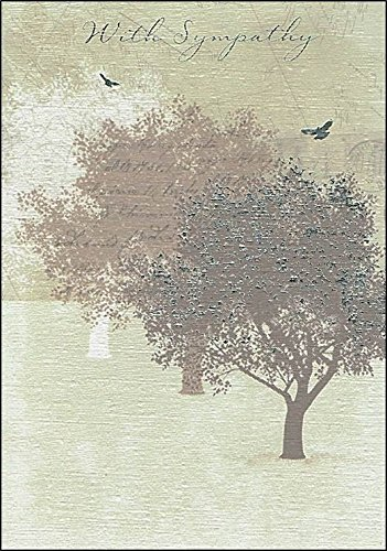 """Gold With Sympathy Greetings Card - Brown Trees, Text & Silver Birds 7.5"""" x 5.25"""" Test"""