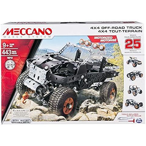 Meccano 4x4 Off-Road Truck - juegos de construcción (Vehicle, Batería, AA, Negro, Plata, Metal,