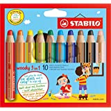 STABILO woody 3in1 Wallet of 10 colours - Multi-talented pencil