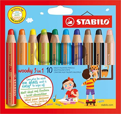 Preisvergleich Produktbild Stabilo Buntstift Wasserfarbe und Wachsmalkreide woody (3 in 1, 10 verschiedene Farben) 10er Pack