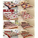 COTTON VILLAS Microfiber Designer BEDSHEET Combo Of 4 Double And 4 Single BEDSHEETS With 12 Pillow Cover