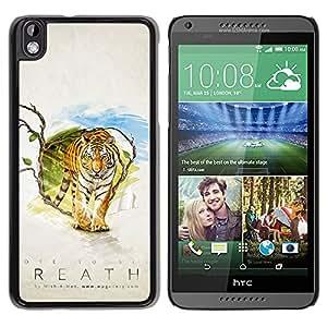 iKiki Tech / Hart Case Cover Handy Schutz Hülle Etui - Tiger Atem - HTC DESIRE 816