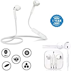 Drumstone Plastic and Metal S6 Sports Bluetooth Bass Stereo Headphones with Remote and Mic for All Smartphones, 3.5mm (Assorted, S6Headset+Earpod_,)
