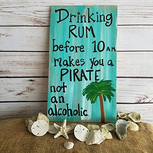 Schild aus Holz Türschild Rum Veranda Terrasse Decor Tiki Bar Einzigartiges Geschenk für Freund Piraten Trinken Rum Schild Pirat Art Wand Pirat Decor